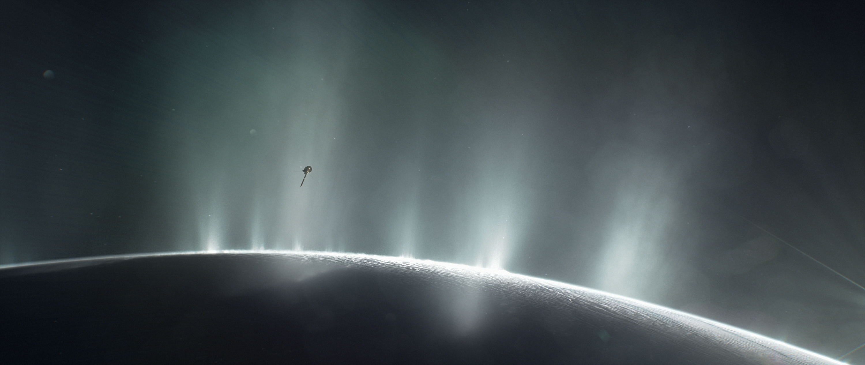 This illustration shows Cassini diving through the Enceladus plume in 2015. New ocean world discoveries from Cassini and Hubble will help inform future exploration and the broader search for life beyond Earth. Credits: NASA/JPL-Caltech Image credit: