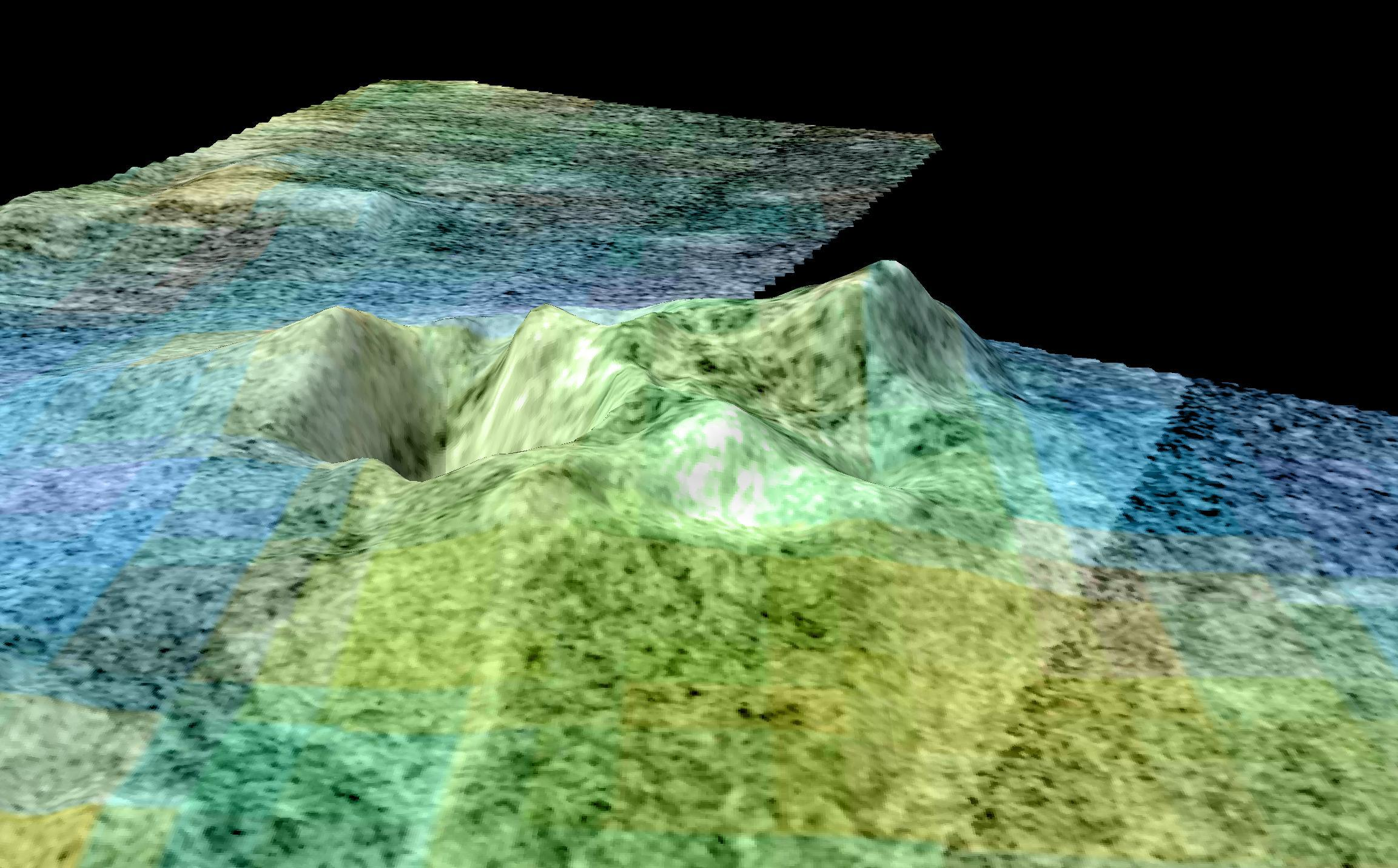 A false-color, 3D representation of radar data from Cassini showing a feature on Titan called Sotra Facula, which appears to be an inactive cryovolcano.