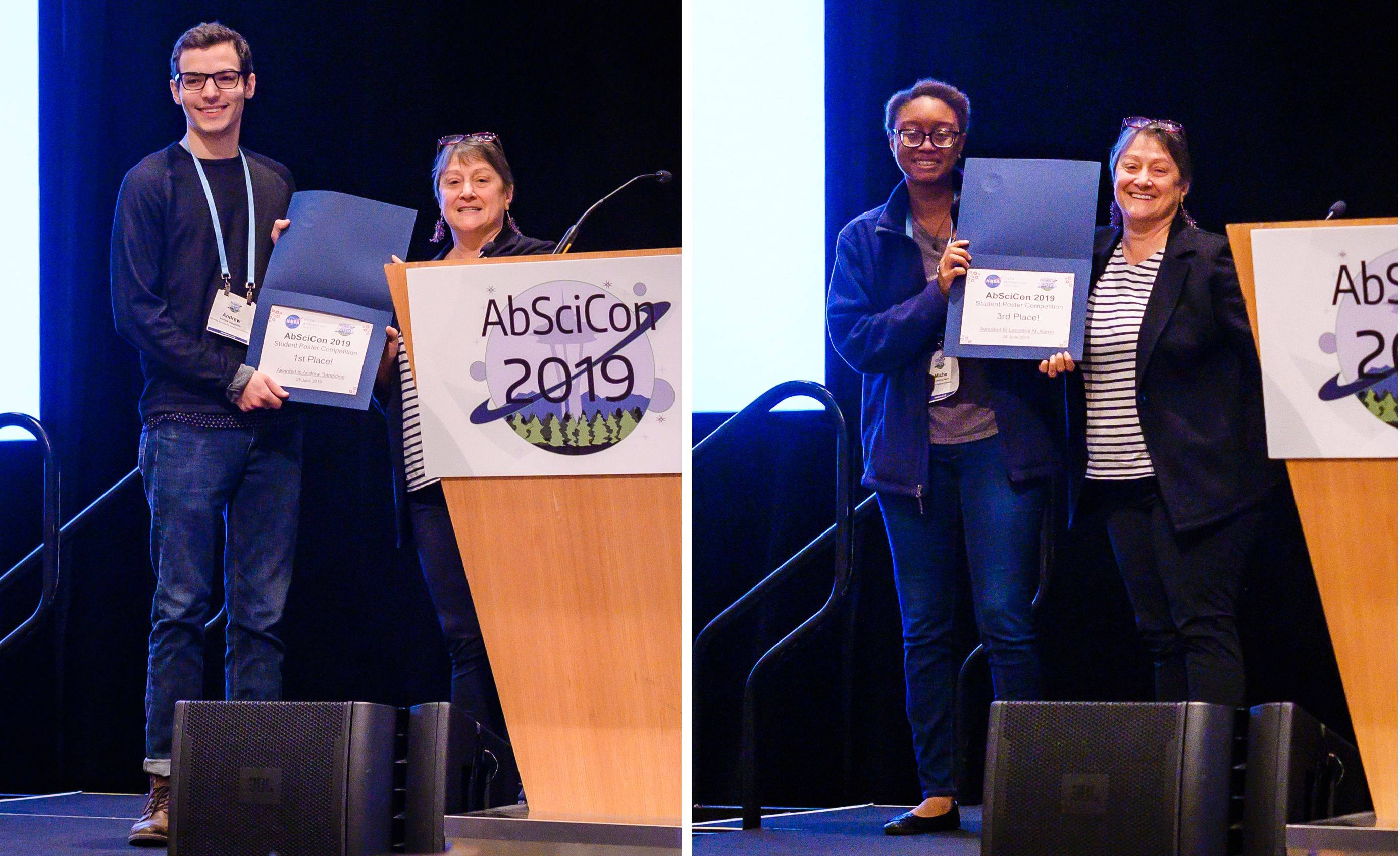First place winner, Andrew Gangidine (left), and third place winner, Lavontria Aaron (right), stand with NASA Astrobiology Program Director, Mary Voytek, as they receive the AbSciCon 2019 student poster competition awards. Credit: Michael L. Wong Image credit: None
