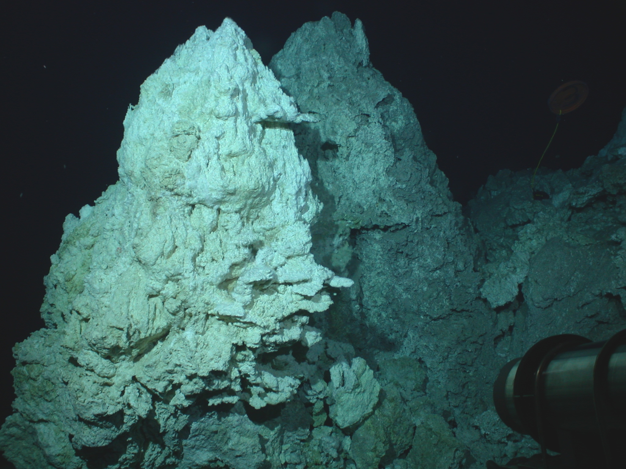 A 60 meter (200 feet) tall carbonate chimney in the field of hydrothermal vents known as the Lost City, which could also be home to rock-powered life. Credit: NOAA/University of Washington. Image credit: None