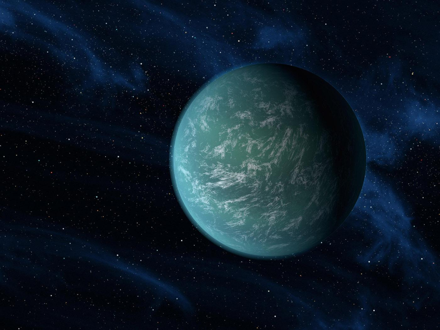 Illustration of the exoplanet Kepler 22-B. Credit: NASA, AMES and JPL-Caltech Image credit: None