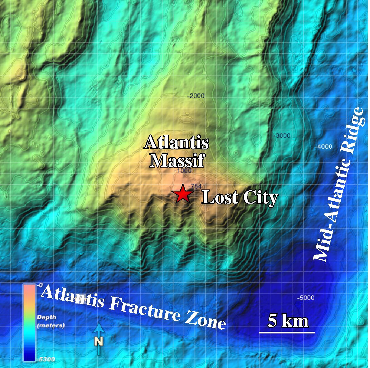 A second site that the NAI team is studying for rock-powered microbes is the Lost City, in the subterranean Atlantis Massif. Credit: NOAA. Image credit: None