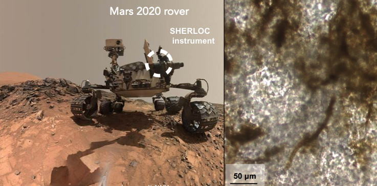 Left: SHERLOC will be mounted on the arm of the Mars 2020 rover. Right: Scan of a stromatolitic limestone Mars analog sample shows kerogen (dark bands) hosted by carbonate (white areas). Image sources: NASA / SETI Institute. Image credit: None