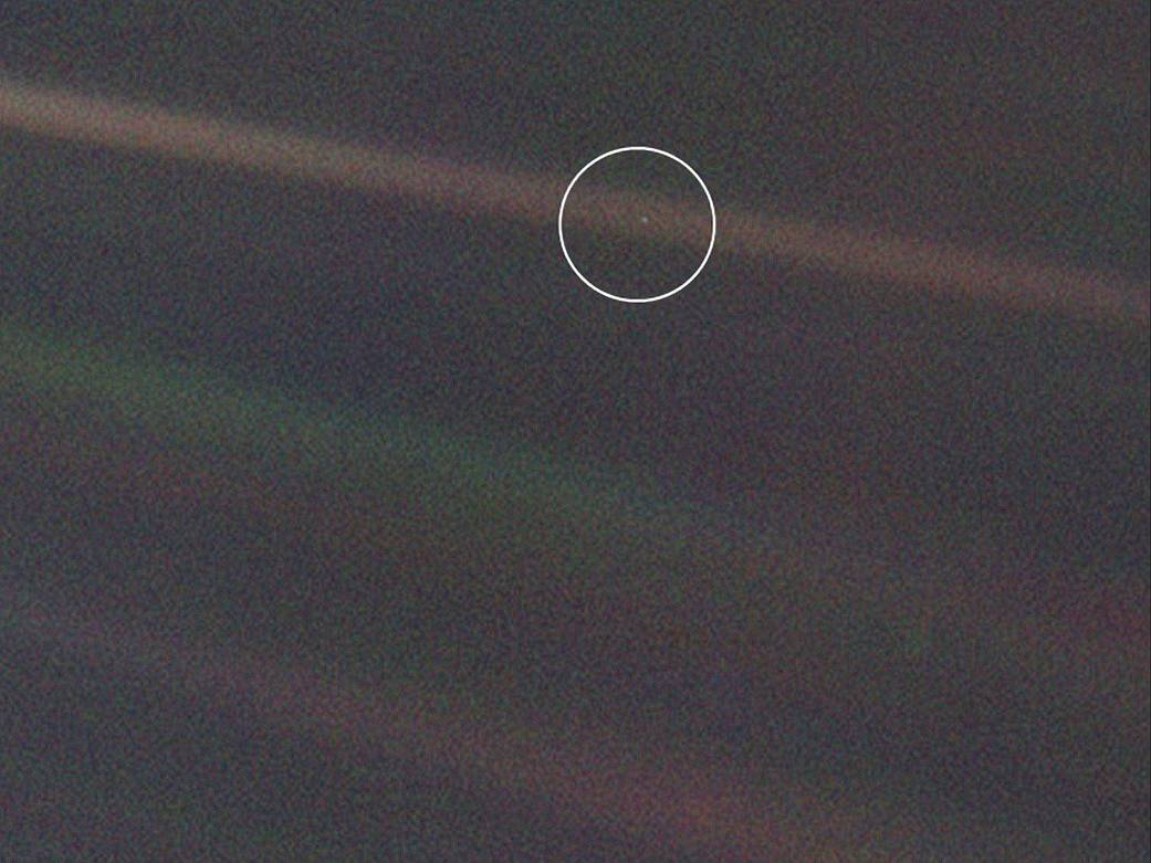 Solar System Portrait - Earth as 'Pale Blue Dot'.
