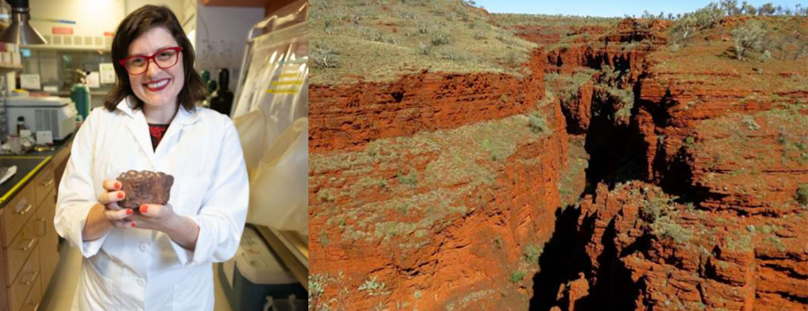 Left: Dr. Jennifer Glass holds a piece of stromatolitic ironstone. Research conducted in her lab at Georgia Tech points to the way in which nitrous oxide may have helped warm early Earth. Photo credit: Georgia Tech / A. Carter. Right: Banded iron formations in Karijini National Park, Australia. These sediments, once ancient seafloor, are red because iron rusted out of solution as oxygen built up in the water. The same dissolved iron facilitated production of nitrous oxide. Photo credit: Georgia Tech / J. Glass Image credit: None