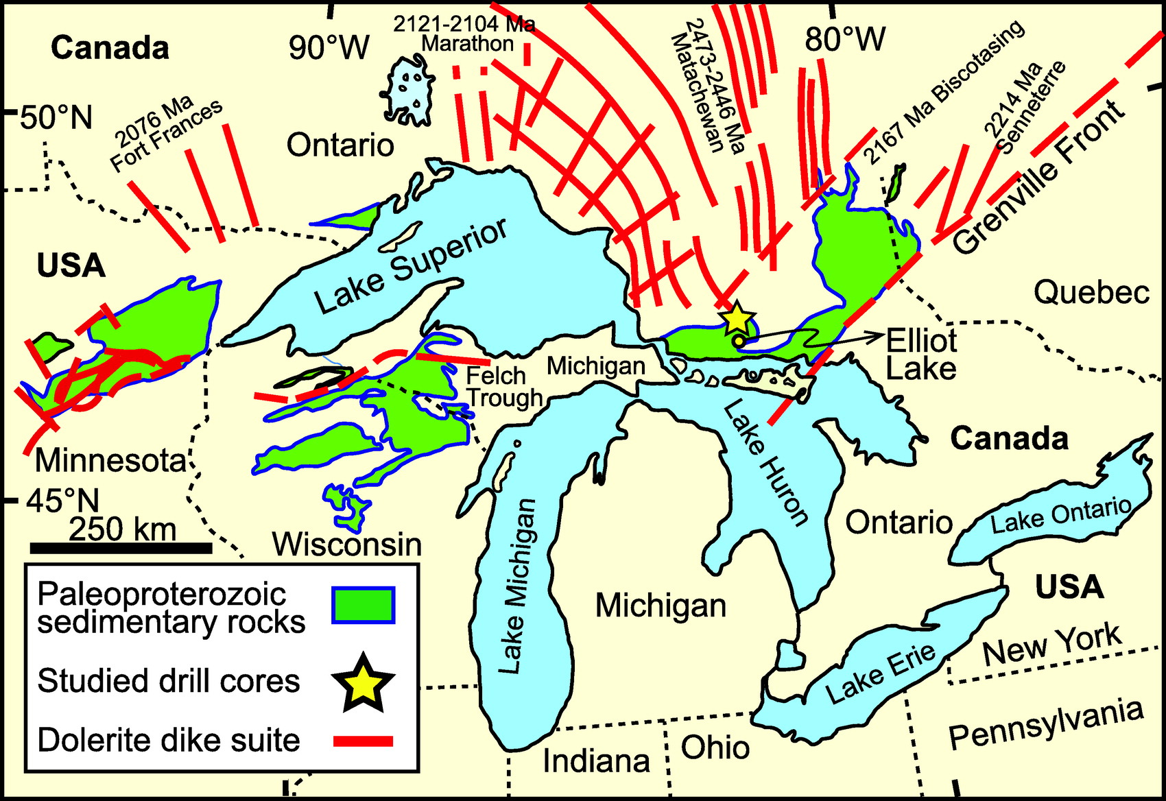 Map showing the distribution of the Huronian Supergroup and other Paleoproterozoic successions in the Great Lakes area. The two studied drill cores (150–4, 156–1) are located ca. 10 km north of the city of Elliot Lake, Ontario, Canada. Modified from the work of Rasmussen et al. (2013). Image credit: None