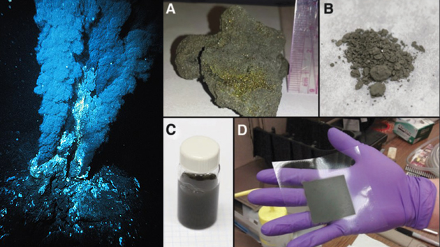 Left: Example of a black smoker hydrothermal vent in the Atlantic Ocean (Source: Wikimedia Commons). Right A-D: Photos showing how hydrothermal mineral samples are turned into electrode ink that can be painted onto a fuel cell electrode assembly. Image credit: None