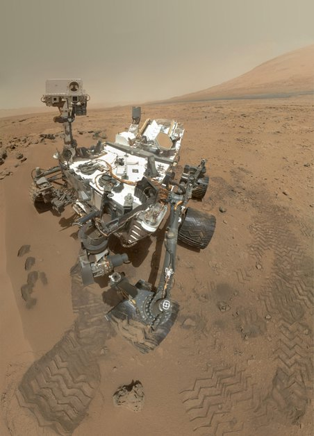 The Curiosity Rover took this composite self-portrait in the Rocknest sand patch on Mars. Tests of soil at the site suggest that troublesome chemicals called perchlorates are common on the Red Planet.
