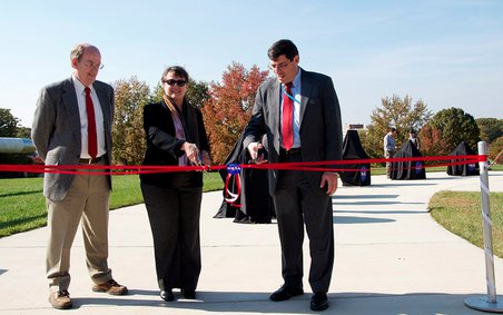 The ribbon is about to be cut! L-R: Mike Mumma, Mary Voytek, Chris Scolese