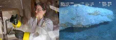 The image to the left shows Jennifer Glass working in a chamber where she can control the oxygen levels to mimic the deep sea environment. On the right is an example of marine gas hydrates on the sea