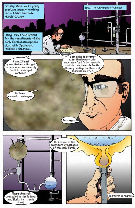Stanley Miller performs his famous experiment in issue 1 of Astrobiology: The story of our search for life in the Universe. Credit: NASA Astrobiology/artwork by Aaron Gronstal. (Click image for full s