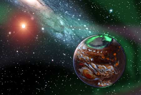 Artist's conception of an exoplanet. Art by Karen Teramura.