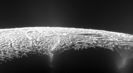 This view looks across the geyser basin of Saturn's moon Enceladus, along fractures spewing water vapor and ice particles into space. Cassini scientists have pinpointed the source locations of about 1