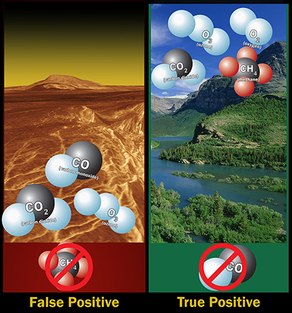Left: Ozone molecules in a planet's atmosphere could indicate biological activity, but ozone, carbon dioxide and carbon monoxide -- without methane, is likely a false positive. Right: Ozone, oxygen, c