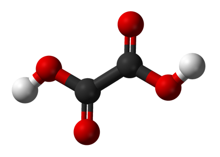 Ball and stick model of the oxalic acid molecule. Credit: Ben Mills and Jynto, Wikimedia Commons