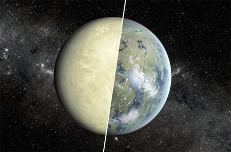 Despite being similar sizes, Earth (right half) and Venus (left half) have different surface conditions, a fact that has implications in the search for an Earth-like exoplanet. Credit: NASA/JPL-Caltec