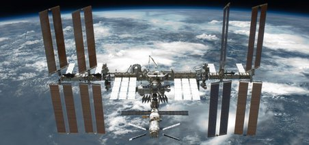 Microbes survived on the exterior of the International Space Station for nearly two years, if their UV radiation was limited or eliminated. Credit: NASA