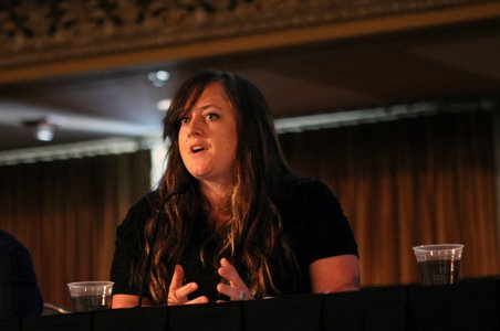 Dr. Britney Schmidt of Georgia Tech discusses the search for life in the Solar System and beyond during an event at AbSciCon 2015. Credit: NASA Astrobiology