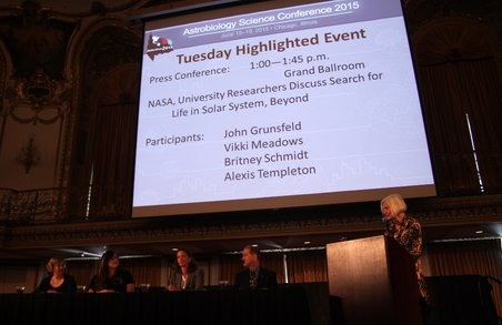 University researchers and NASA take part in a Highlighted Event at AbSciCon 2015. Participants included (left to right) Victoria Meadows of the University of Washington, Britney Schmidt of Georgia Te