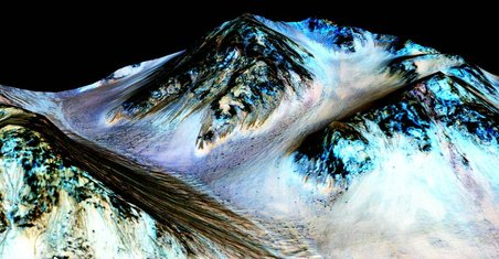 These dark, narrow, 100 meter-long streaks called recurring slope lineae flowing downhill on Mars are inferred to have been formed by contemporary flowing water. Recently, planetary scientists detecte