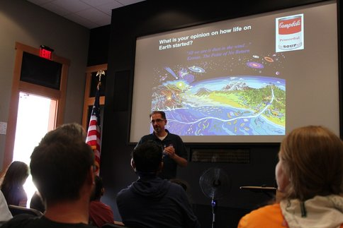 Figure 3.  Andrew Mattioda gives a public lecture at the Lassen Volcanic national Park's Dark Skies Festival.