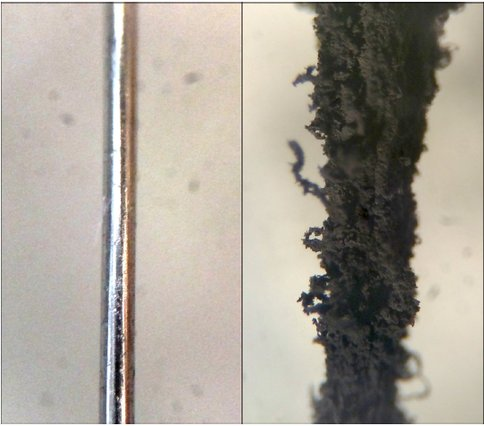 Figure 1: A microscope image of a section of iron wire used in our experiments (0.23 mm in diameter) shown at the same scale before (left) and after (right) exposure to surface-mediated reactions. The wire served as the catalyst for a single experimental run in which a mixture of CO, N<sub>2</sub>, and H<sub>2</sub> produced carbonaceous products at 873K.