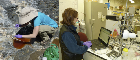 Figure 1. (A) UW Astrobiology student Meg Smith collecting samples of purple sulfur and purple non-sulfur bacteria from Wilbur Hot Springs in Northern California. (B) Performing measurements of biogenic gases using a Hiden Membrane Inlet Mass Spectrometer (MIMS).