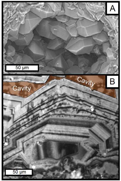 Figure. 3. A. SEM image of cavity megaquartz from Strelley Pool Chert at the Trendall locality. B. CL image of zoned cavity megaquartz. The cavity is colored. (Cammack et al. 2015, Cammack 2015)