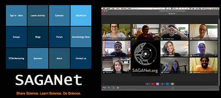 SAGANet webpage and a screenshot of the SAGANet mentors as they prepare to engage students in the Pittsburg Community School Astrobiology Science Challenge.