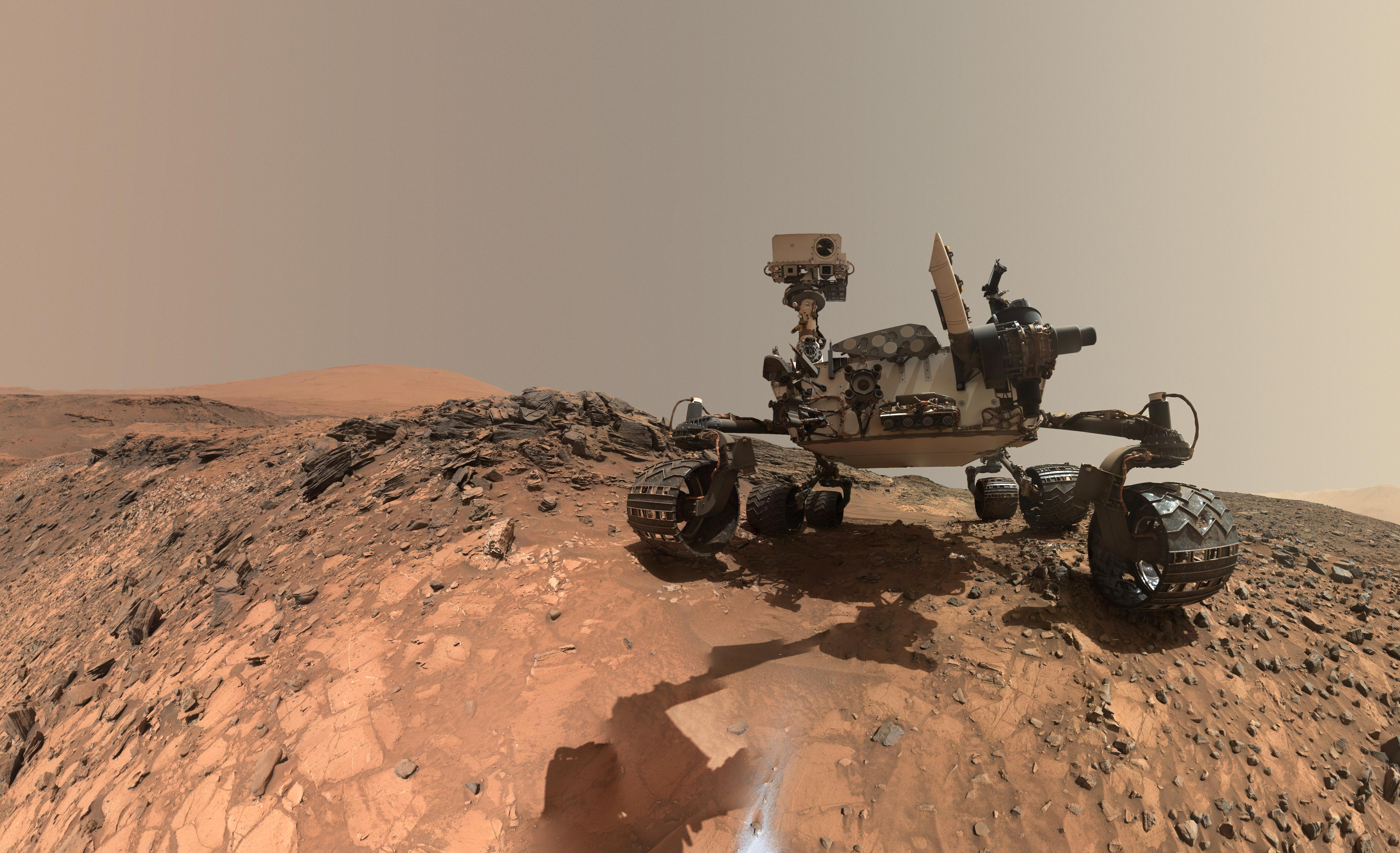 "This low-angle self-portrait of NASA's Curiosity Mars rover shows the vehicle at the site from which it reached down to drill into a rock target called ""Buckskin"" on lower Mount Sharp. Credits: NASA/JPL-Caltech/MSSS Image credit: None"