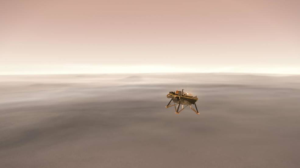 This illustration shows a simulated view of NASA's Interior Exploration using Seismic Investigations, Geodesy and Heat Transport (InSight) lander firing retrorockets to slow down as it descends toward the surface of Mars. Credits: NASA/JPL-Caltech Image credit: None