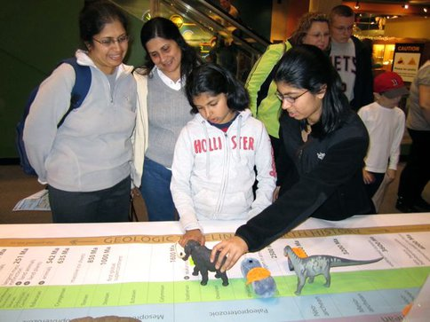 A Family Works on the Timeline Challenge at the Museum of Science