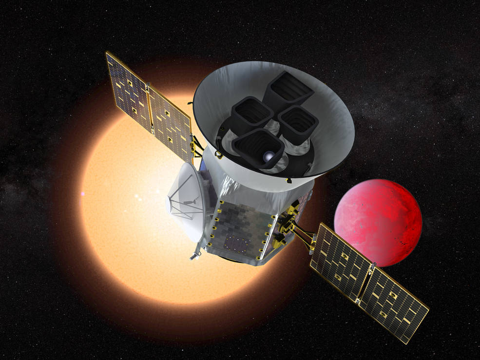 Illustration of the Transiting Exoplanet Survey Satellite (TESS) in front of a lava planet orbiting its host star. TESS will identify thousands of potential new planets for further study and observation. Source: NASA/GSFC Image credit: None