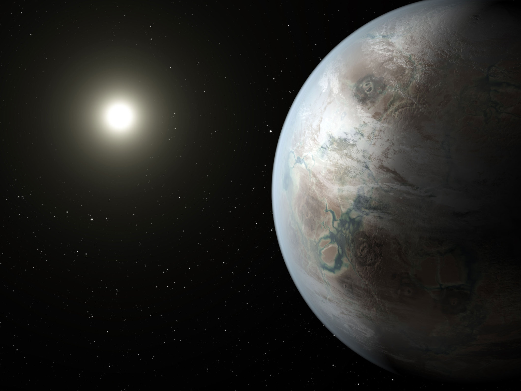 An artist's conception of planet Kepler-452b, the first near-Earth-sized world to be found in the habitable zone of a star that is similar to our sun. Image credit: NASA Ames/JPL-Caltech/T. Pyle