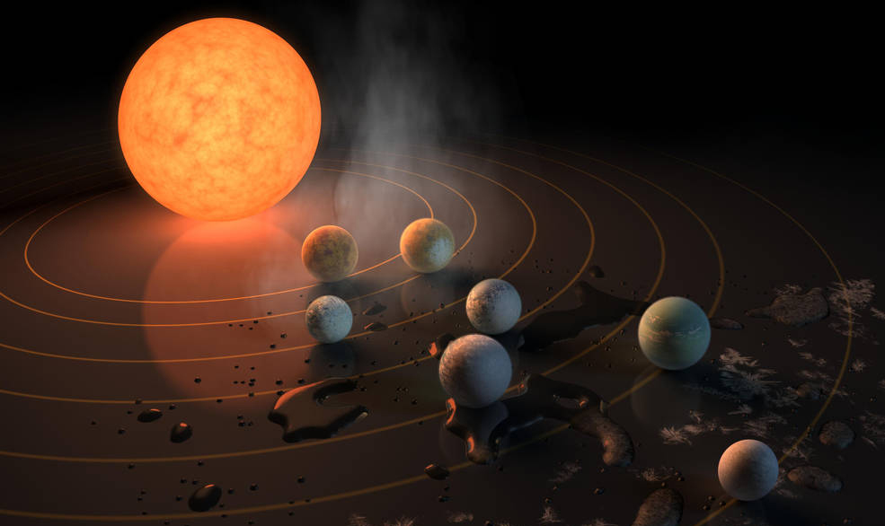The Virtual Planetary Laboratory investigates the potential habitability of extrasolar planets. The research will help in predicting the habitability of discovered bodies like the Earth-size planets orbiting TRAPPIST-1. Image source: NASA Image credit: None