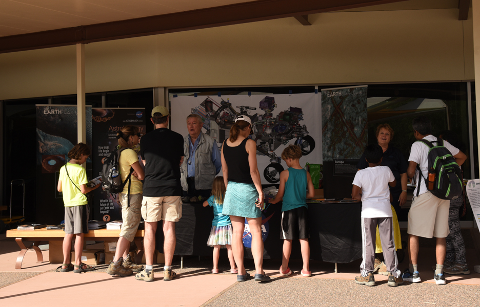 Astrobiology booth staffed by Jack Farmer and Sheri Klug both from ASU. Image Credit: Barbara Vance Image credit: