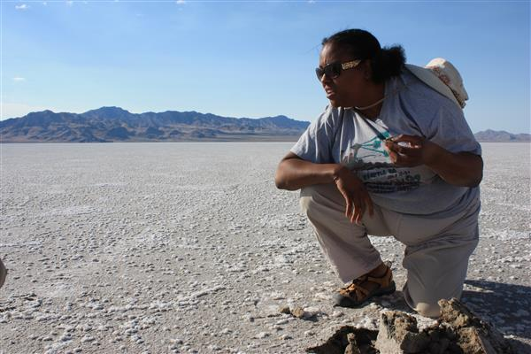 Lynch examining microbial mats in the Pilot Valley Basin, a paleolake basin in Utah. Photo credit: NASA Astrobiology Institute Image credit: None