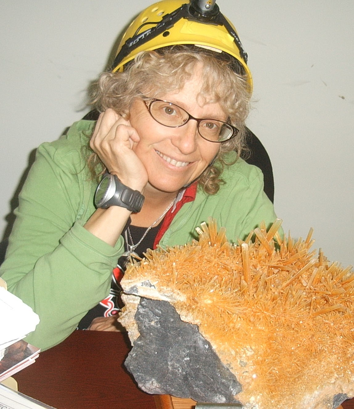Penelope 'Penny' Boston poses with Naica Cave gypsum crystals. Image credit: Dr. Tom Kieft, New Mexico Tech