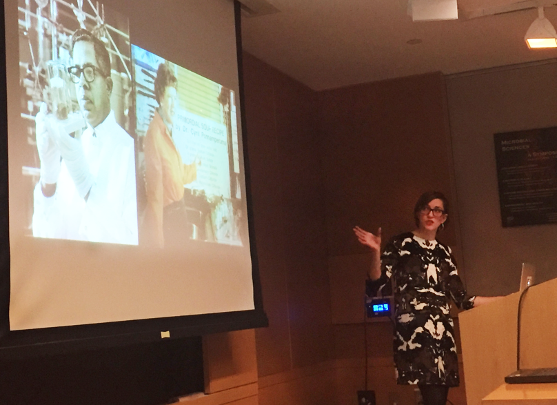 "Sophia Roosth, Associate Professor at Harvard University, presents her talk, ""Life Is Not a Natural Kind"". Source: B. Kacar Image credit: None"