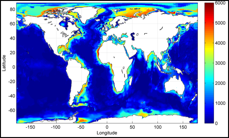 A map showing the thickness of sediment (in meters) for a temperature range under 80 degrees Celsius. Source: Amend and LaRowe Image credit: None
