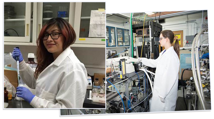 Erika Flores (left) and Elena Thomas (right) in the labs at JPL. Source: JPL Image credit: None