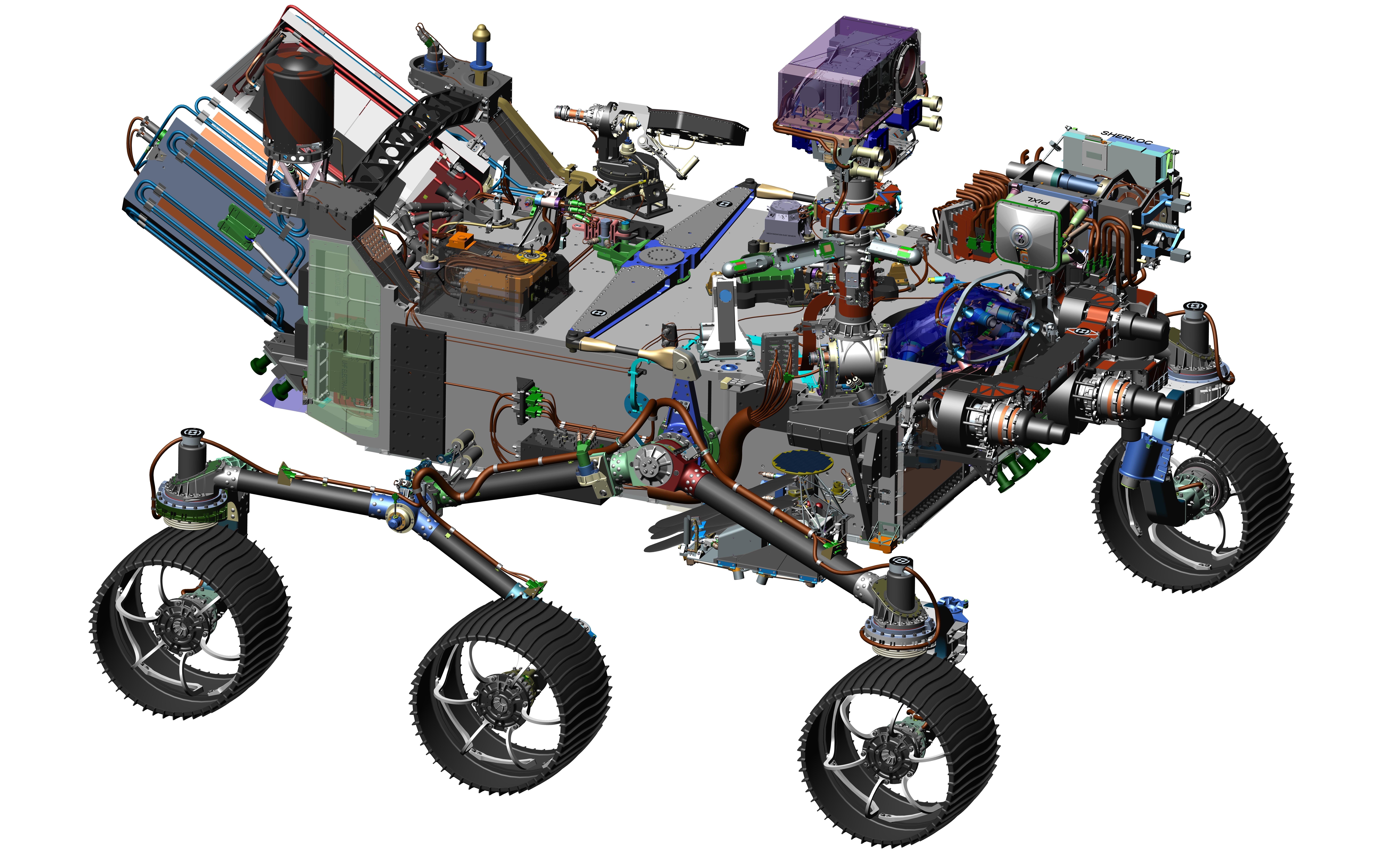 A computer-assisted model of the Mars 2020 rover, which is expected to look for signs of habitable environments on the Red Planet. It also will cache samples for possible return to Earth by another mission. Credit: NASA/JPL-Caltech Image credit: None