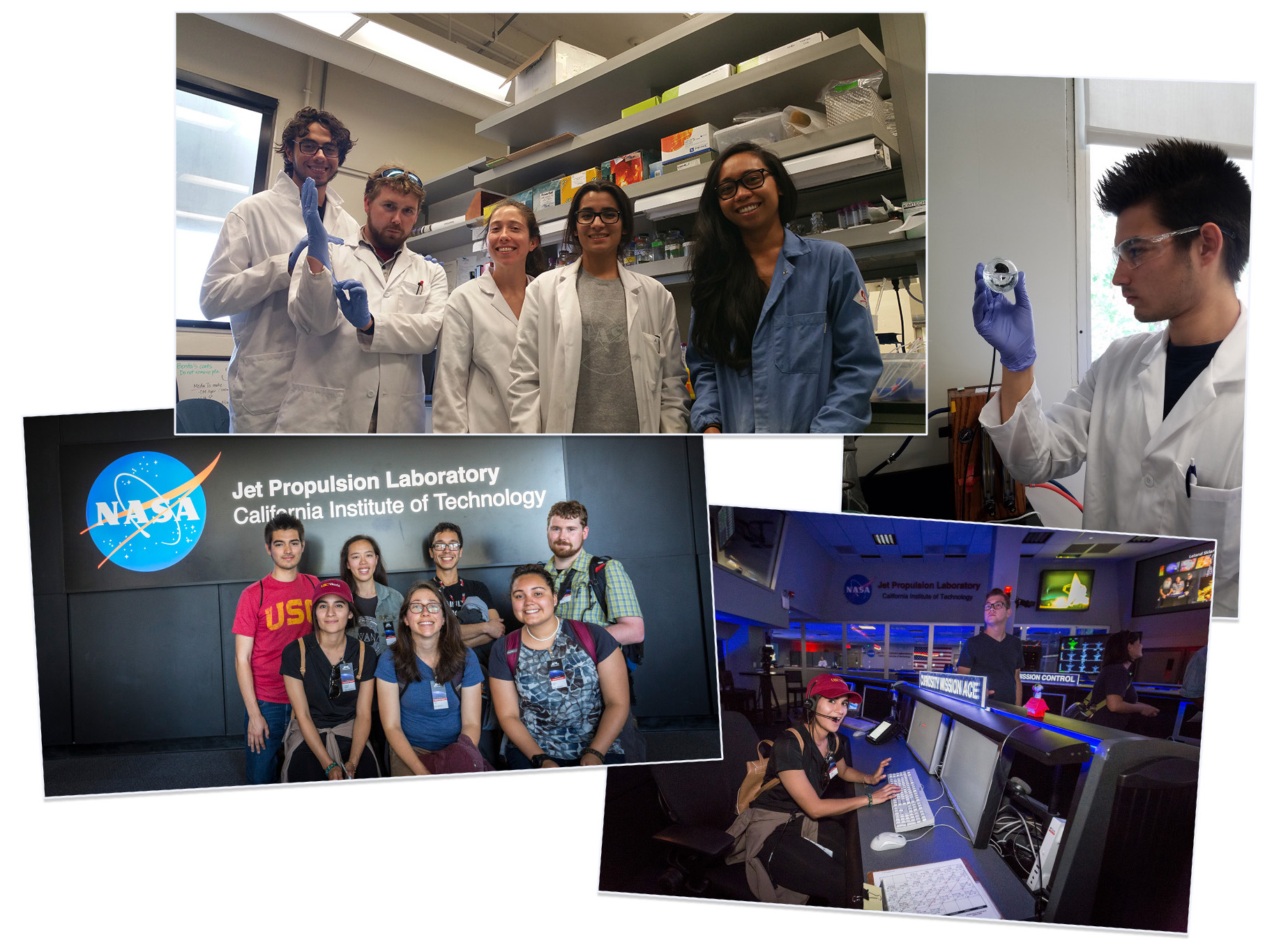 "Clockwise from top: Charbel Bou Khalil, Stephen Hoefler, Hillary Smith, and Angelica Escobar with mentor Karla Abuyen in the Amend lab; Alex Cervantes; Angelica Escobar at Curiosity ""mission control""; Alex Cervantes, Karen Ho, Chris Neely, Stephen Hoefler, Angelica Escobar, Hillary Smith, and Raquel Diaz at JPL. Source: J. Amend/USC Image credit: None"