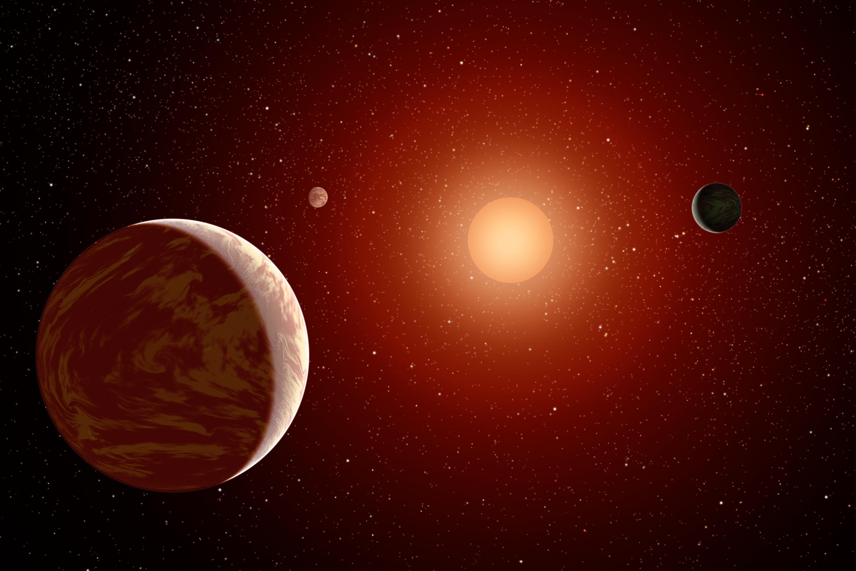 Artist's impression of a M dwarf star surrounded by planets. Image credit: NASA/JPL-Caltech/MSSS