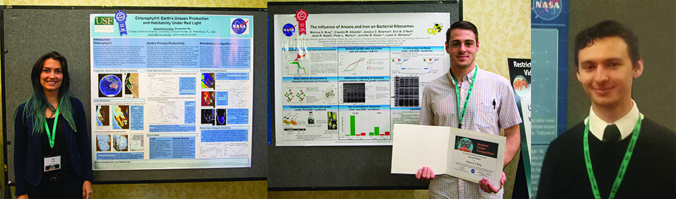 Winners of the student poster competition, Jacqueline Long, Marcus Bray, and Vincent Riggi. Image credit: