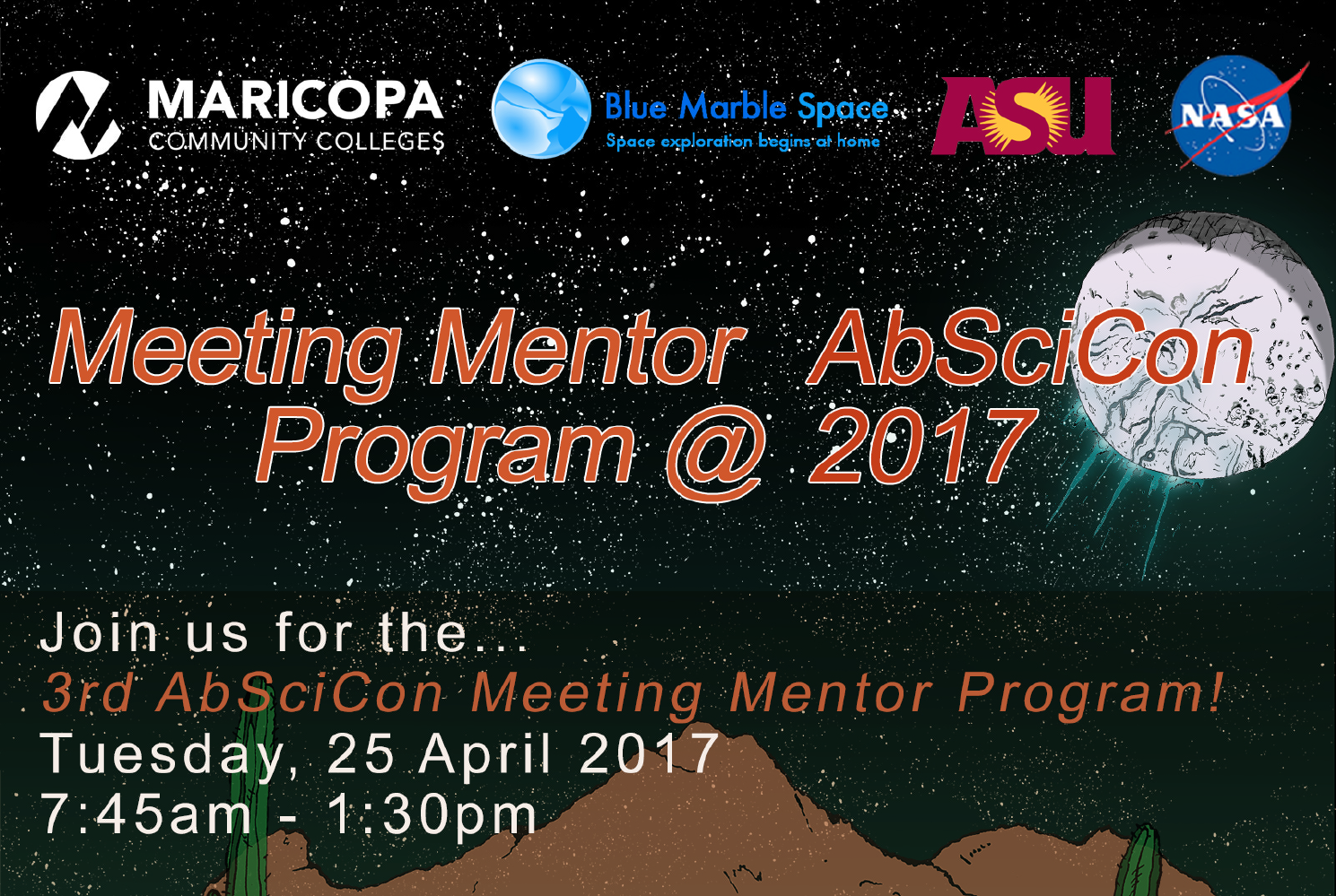 The 3rd AbSciCon Meeting Mentor Program takes place Tuesday, April 25, 2017, 7:45AM-1:30PM. Image credit: None