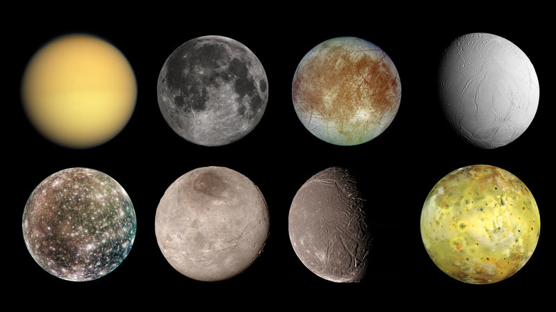 (Top row, left to right) Titan, Earth's moon, Europa and Enceladus. (Bottom row, left to right) Callisto, Charon, Ariel and lo. Image credit: NASA  Image credit: