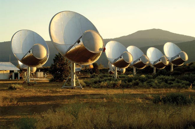 SETI's partially-built Allen Telescope Array in Northern California, the focus of the organization's effort to collect signals from distant planets, and especially signals that just might have been created by intelligent beings.  (SETI) Image credit: None