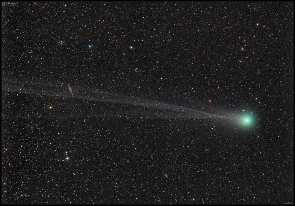 Scientists from NASA's Goddard Center for Astrobiology observed the comet C/2014 Q2 – also called Lovejoy – and made simultaneous measurements of the output of H<sub>2</sub>O and HDO, a variant form of water. This image of Lovejoy was taken on Feb. 4, 2015 – the same day the team made their observations and just a few days after the comet passed its perihelion, or closest point to the sun.