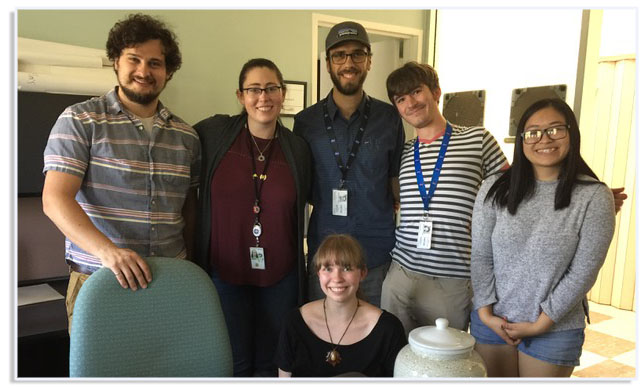 Khanh Luu (right)with Gulick's 2017 summer research team.From left to right: visiting postdoc Dr. Tim Goudge (UT- Austin), SETI Institute research assistant Natalie Glines, NASA Summer interns Tyler Paladino (UCSC), Richard Nelson (UCSC), SETI REU Intern Khanh Luu (CSU-San Bernadino), and front center: NASA Intern Paige Morkner (CalPoly). Source: V. Gulick/NASA Ames Image credit: None